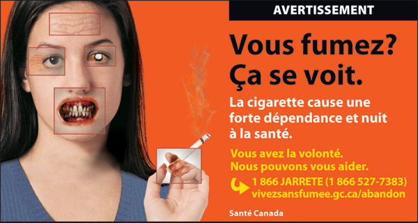 Canada 2012 Health Effects other - targets young women, physical effects of smoking - fr