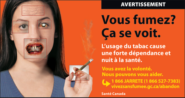 Canada 2012 Health Effects other - targets young women, physical effects of smoking - cigars fr