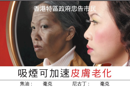 Hong Kong 2007 Health Effects wrinkles - ageing of skin, looking into mirror, chinese