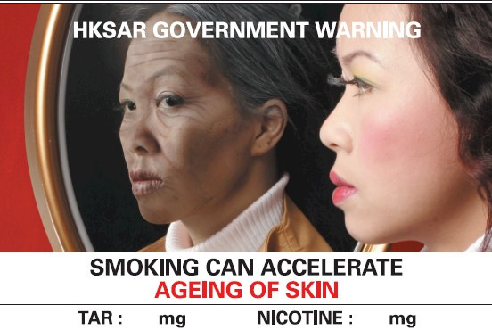 Hong Kong 2007 Health Effects wrinkles - ageing of skin, looking into mirror, english