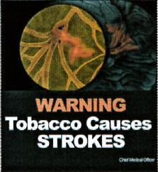 Jamaica 2013 Health effects stroke - clot, fatal smokeless warning only (back)