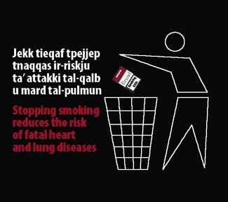 Malta 2009 Quitting - stickman image, health benefits, heart and lung disease