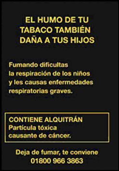 Mexico 2009 ETS children - second hand smoke, harmful for children (Back)
