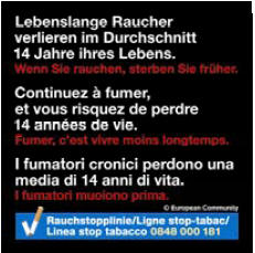 Switzerland 2012-2014 Health Effects death - average loss of years, plain warning