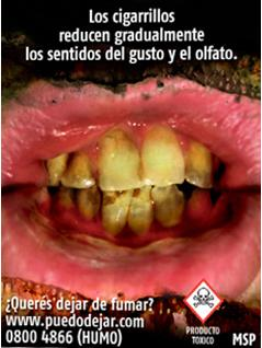 Uruguay 2009 Health Effects Mouth - Bad breath, spots on teeth, reduced sense of taste and smell, gross.
